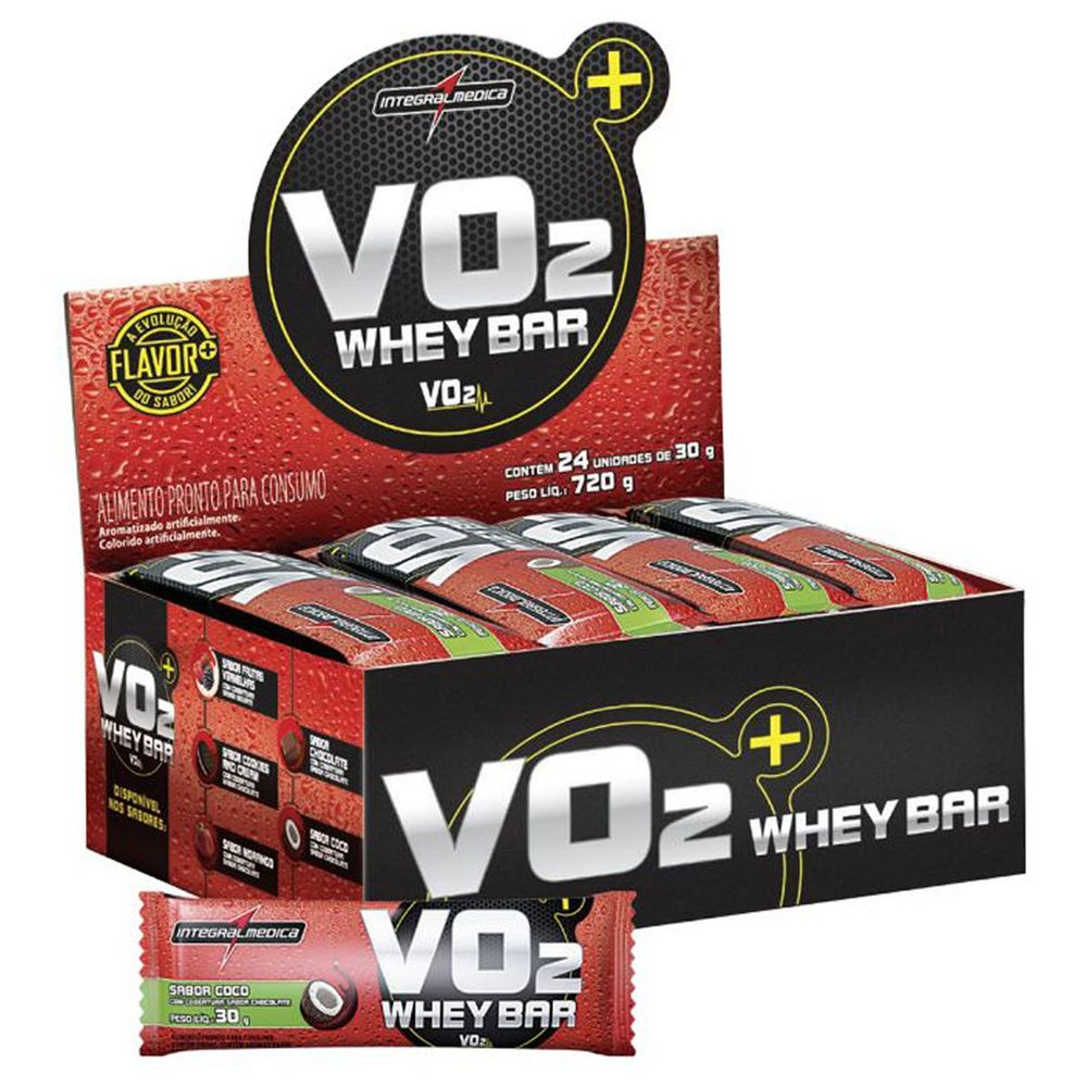 b614e6b01 Caixa de Barra de Proteína VO2 - Sabor Coco 24 unid. Caixa de Barra de  Proteína VO2 - Sabor ...