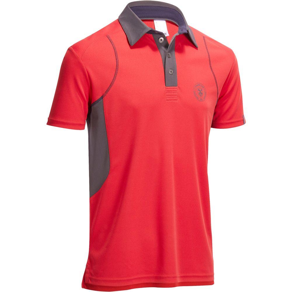 Camisa Polo de Manga Curta Hipismo masculina PL500 MESH Vermelho e Cinzento 656e3307c30df
