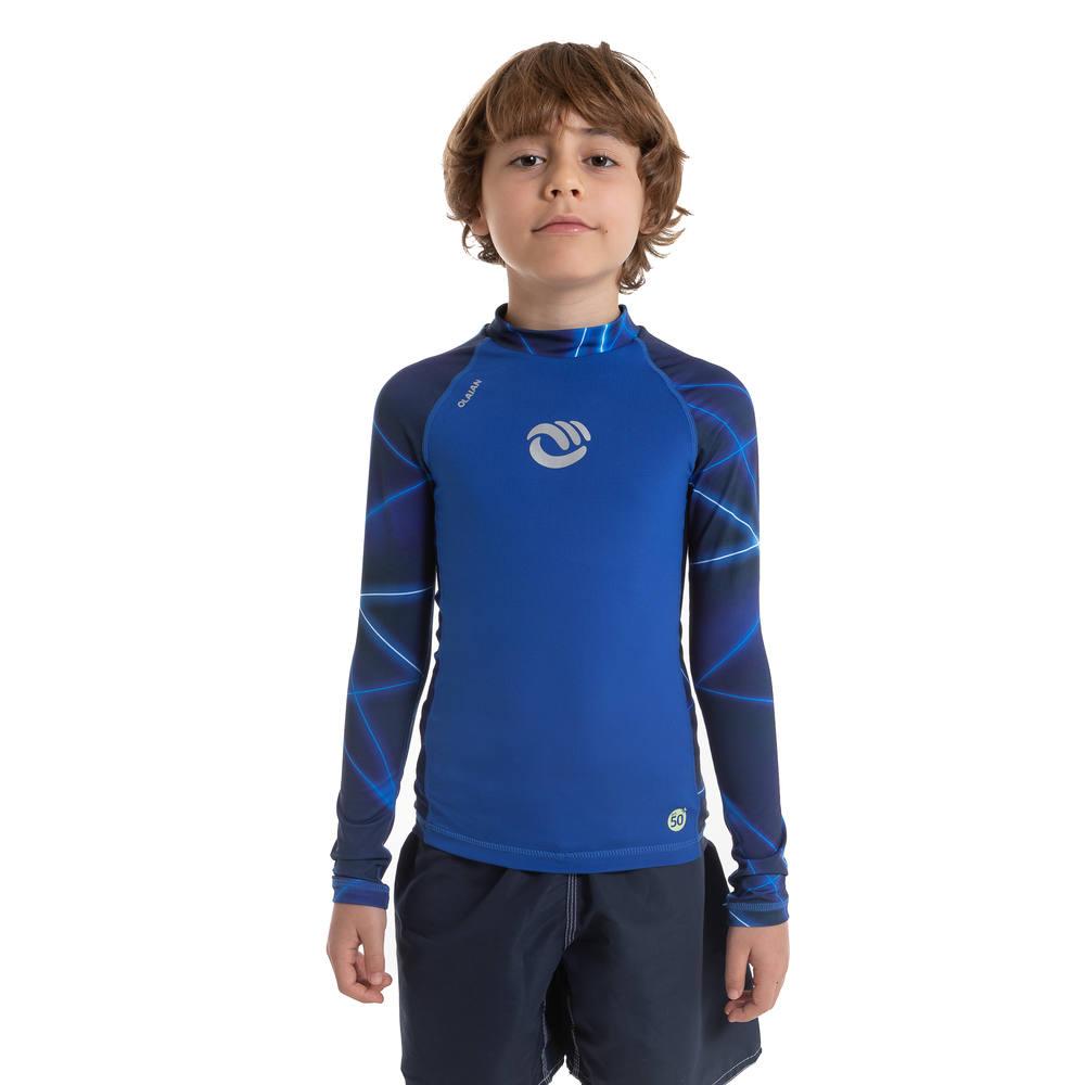 Camiseta top solar manga longa com proteção solar - Camiseta com proteção  UV50+ infantil 100 Olaian  TOP UV ML BOY PSYCONEON PV19 f5fc8c2fe24