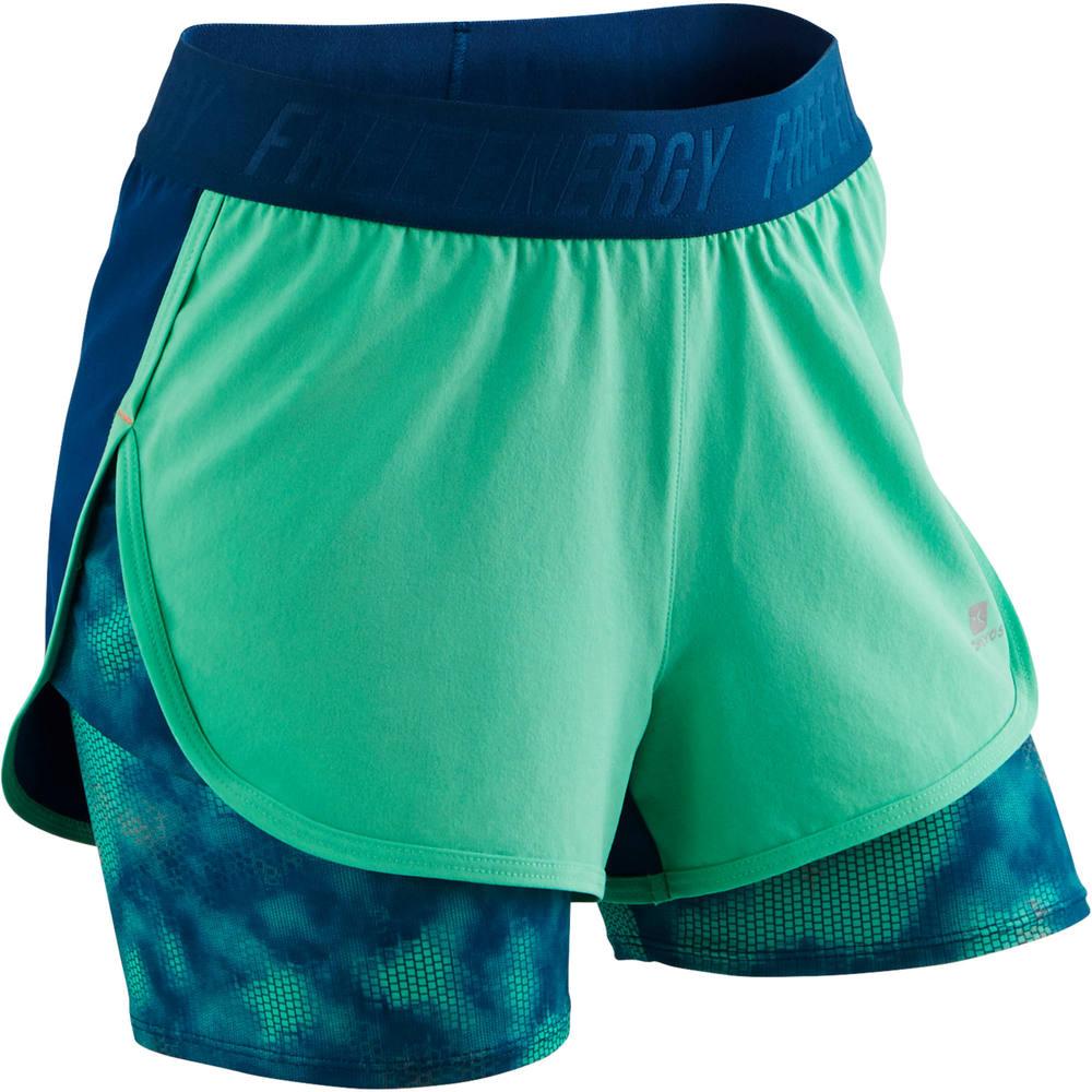 Shorts Duplo de Ginástica Menina Domyos - decathlonstore b8d91a6a6d975