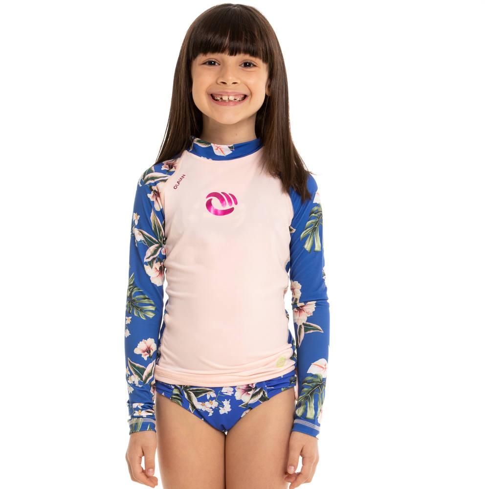 Camiseta com proteção solar UV50+ infantil Olaian -  TOP UV ML GIRL TIKI  AZUL PV19 22a8a9a7048
