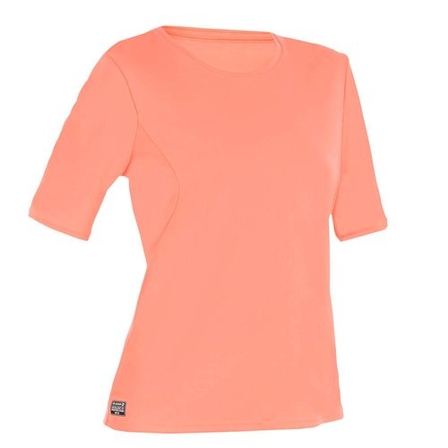 Camiseta prot solar de surf Mangas curtas Mulher Coral Fluorescente ... 3cdd8acbc49
