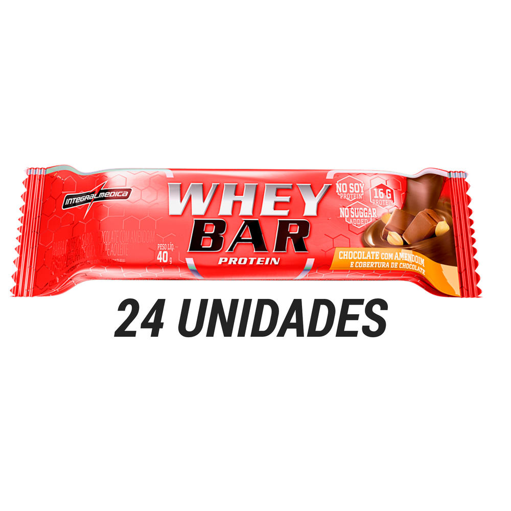 BARRAS PROTEÍNA CHOCOLATE COM AMENDOIM WHEY BAR 24 UNID CAIXA - CX FECHADA  24 UNID CHOCO AMEND 42c3c1f2712d0