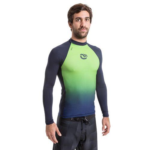 aa5b858291 CAMISETA MANGA LONGA PROTEÇÃO SOLAR MASCULINA DE SURF 500 OLAIAN gradient  verde