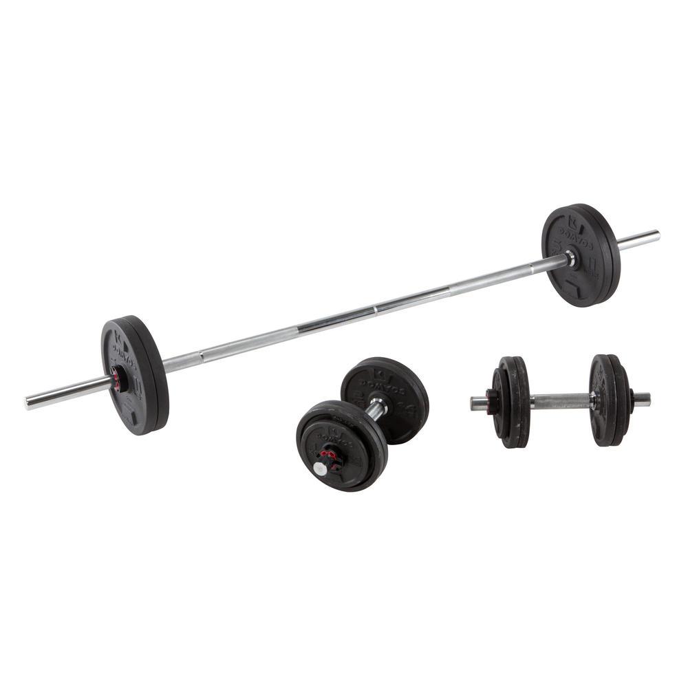 e0881b9c5 Conjunto de Pesos e Barra de Musculação 50Kg - Decathlon