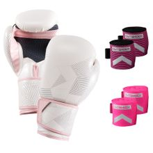 299a2fa5f0b Kit Rosa III com Luva e Bandagens para Boxe e Muay Thai
