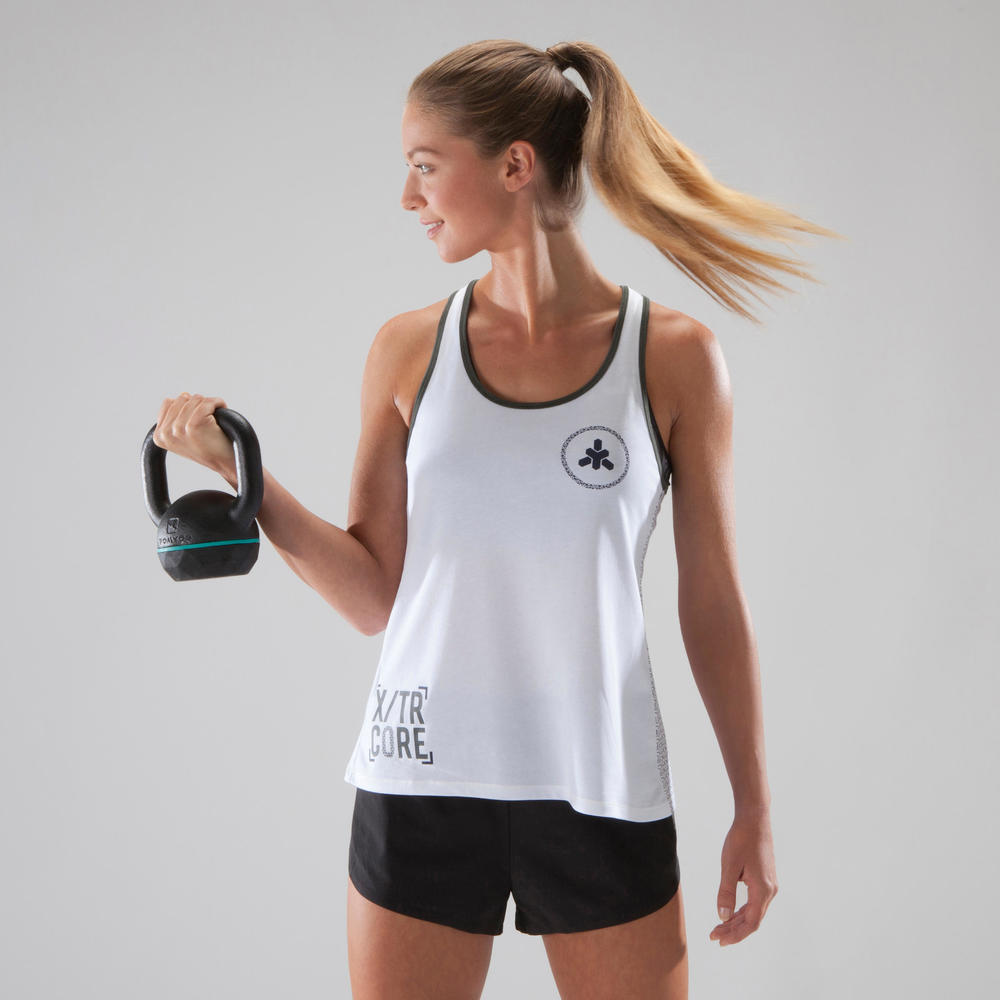 e94da89e1c Regata Feminina Fitness Branca - Linha 500 - Domyos - Decathlon
