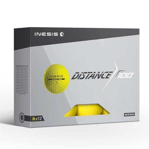 Bolas de Golf Distance 100 Inesis (Caixa 12 bolas) - DISTANCE 100 GOLF BALL X12 YELL, NO SIZE