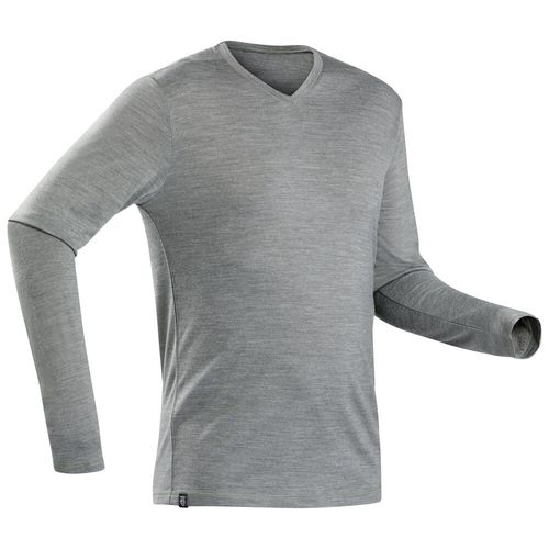 camiseta-masculina-de-trekking-manga-longa-de-la-merino-Travel100-caqui-3G