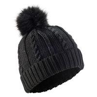 Hat-torsades-fur-wool-new-black-no-size