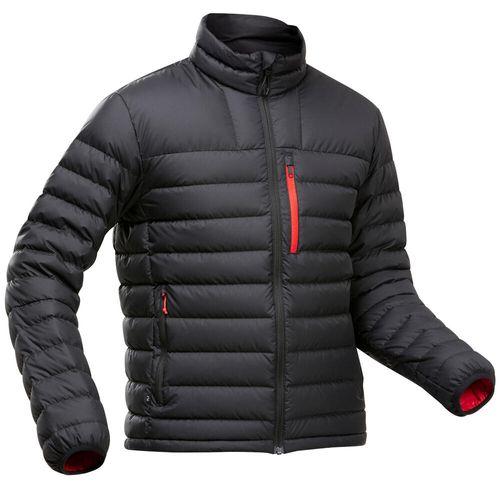 Jaqueta-de-penas-masculina-de-trekking-Trek500-preta-PP