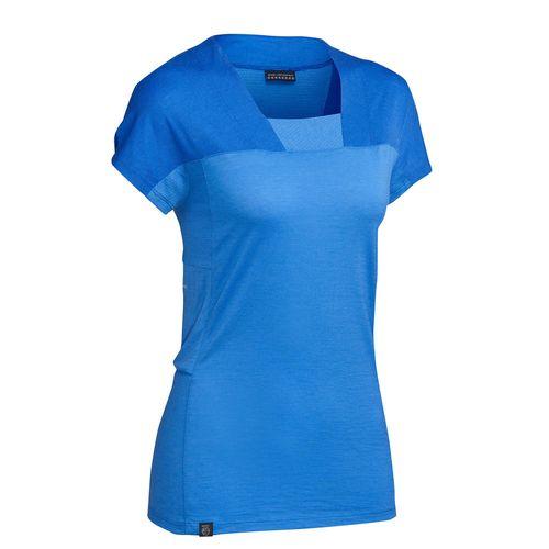 Camiseta-feminina-de-trekking-de-la-merino-Trek500-magenta-M