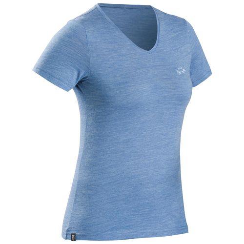 Camiseta-feminina-de-trekking-de-la-merino-Travel500-azul-M
