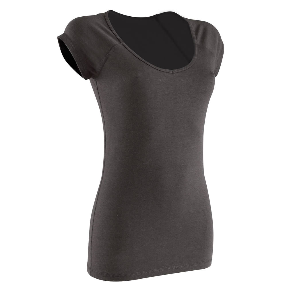 Camiseta Slim Feminina para Ginástica e Pilates Domyos - T-SHIRT 500 SS  SLIM GYM BLAC 2274eb94d12
