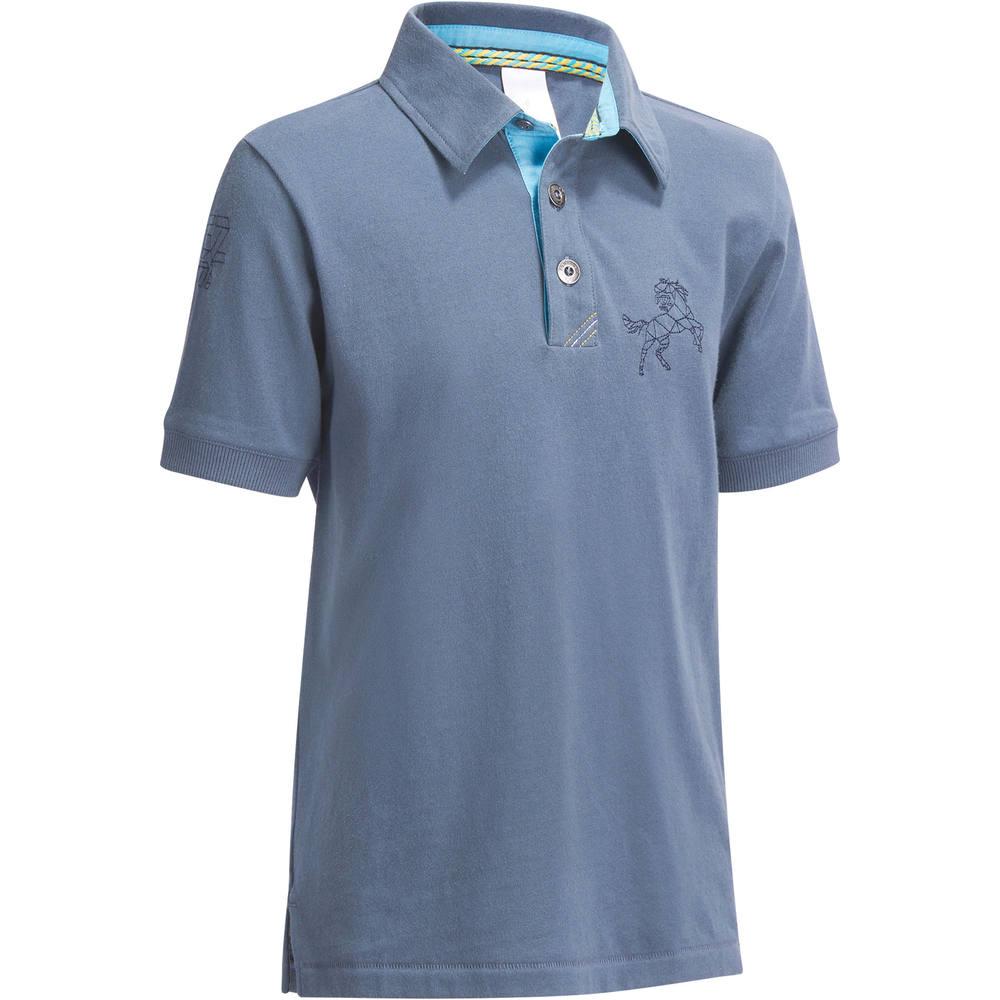 46189db9f Camisa Polo para Hipismo de manga curta PL140 Infantil. Camisa Polo para  Hipismo de manga curta PL140 Infantil