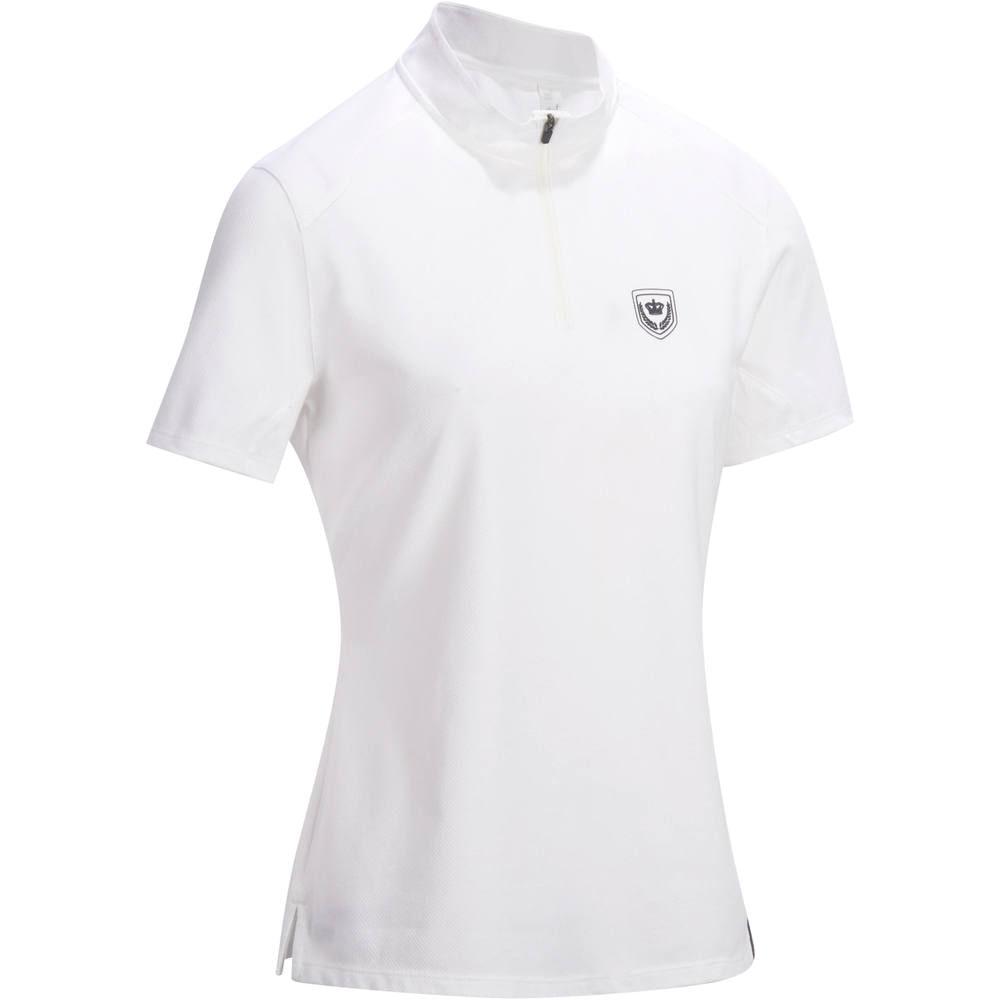 a6830227c Camisa Polo para Hipismo de Concurso COMP500 Feminino Branco - Decathlon